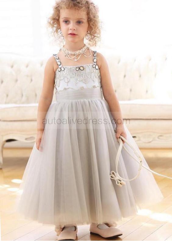 Grey Satin Beaded Tulle Tutu Flower Girl Dress
