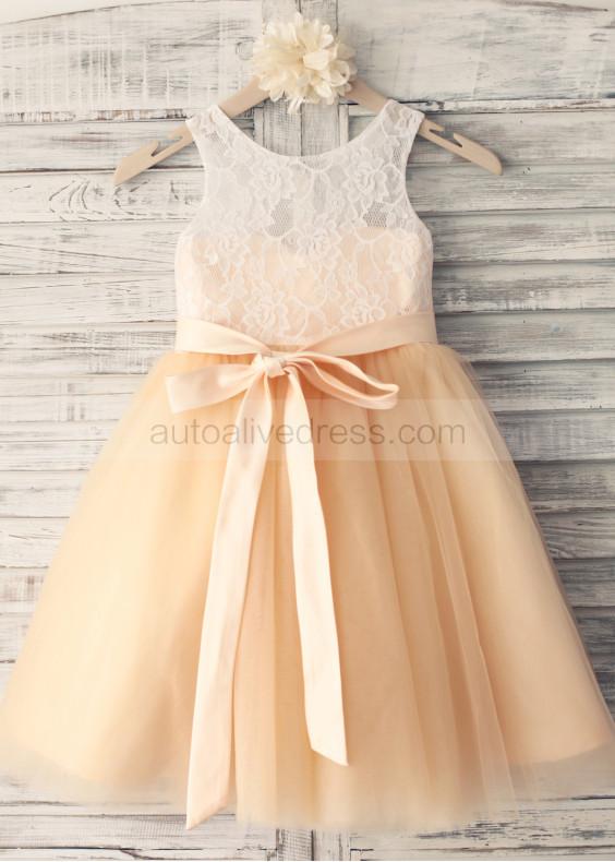 Champagne Lace Tulle Knee Length Flower Girl Dress