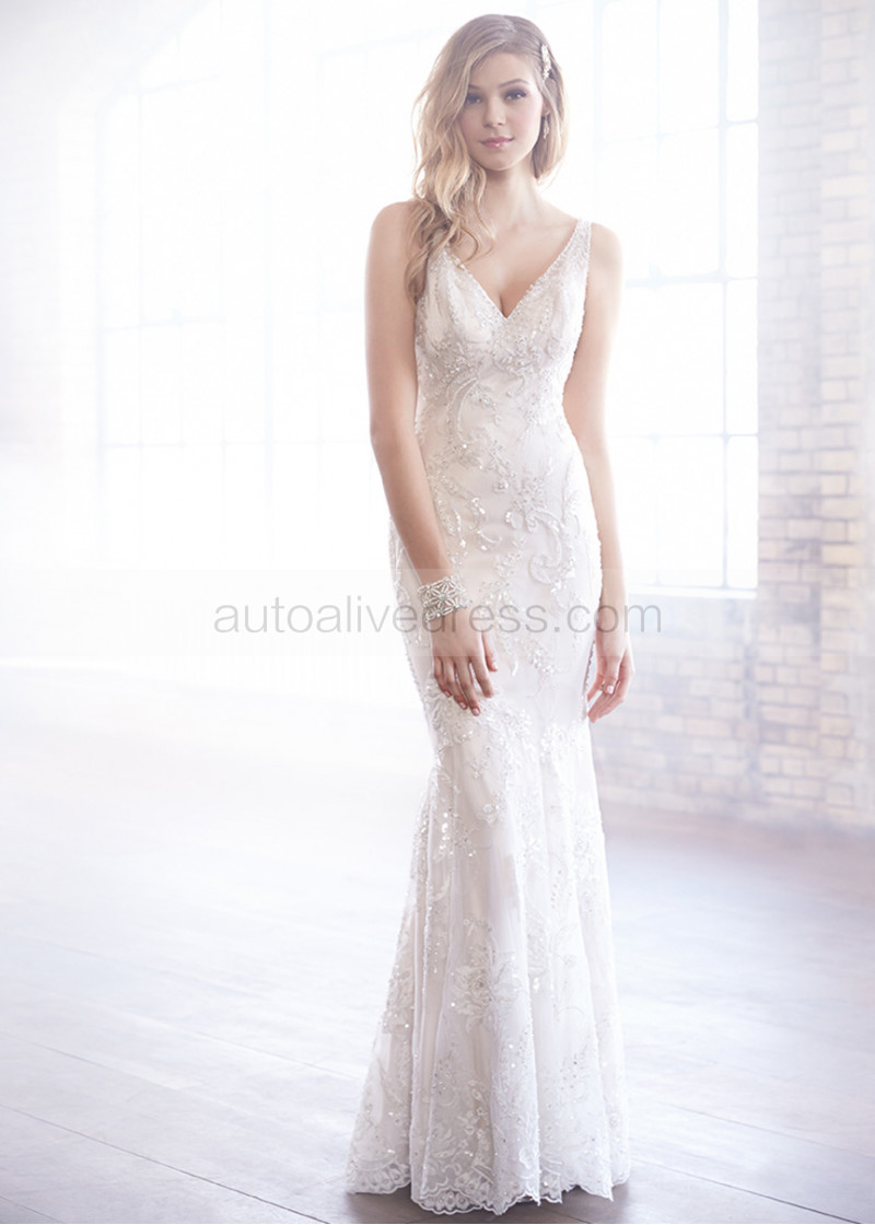 V Neck Backless Champagne Beaded Lace Tulle Wedding Dress