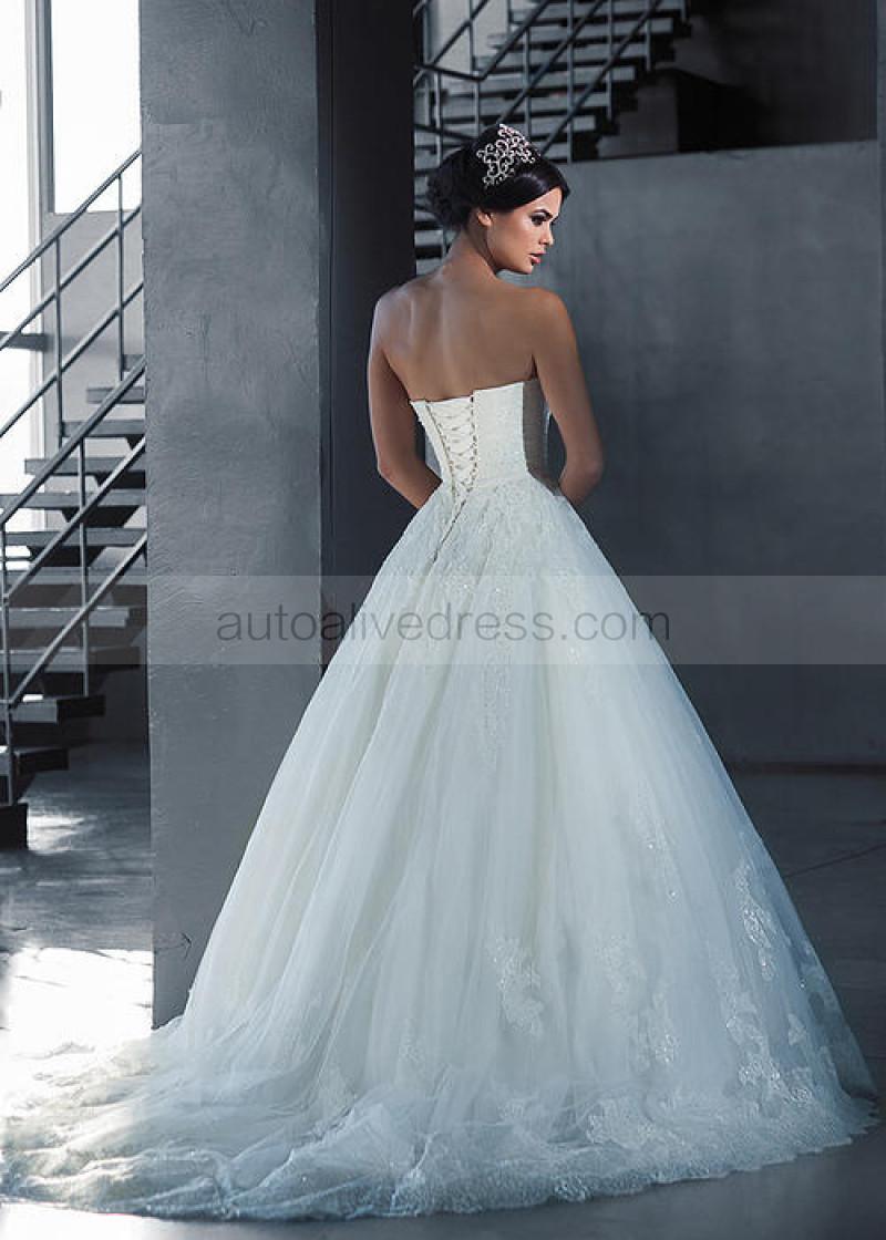 Strapless Ivory Lace Tulle Pleated Beading Corset Back Wedding Dress