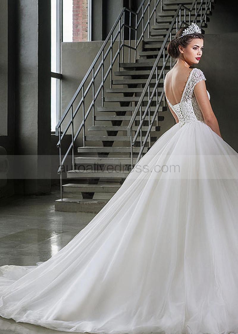 Boat Neck Ivory Lace Tulle Corset Back Cap Sleeves Beaded Wedding Dress