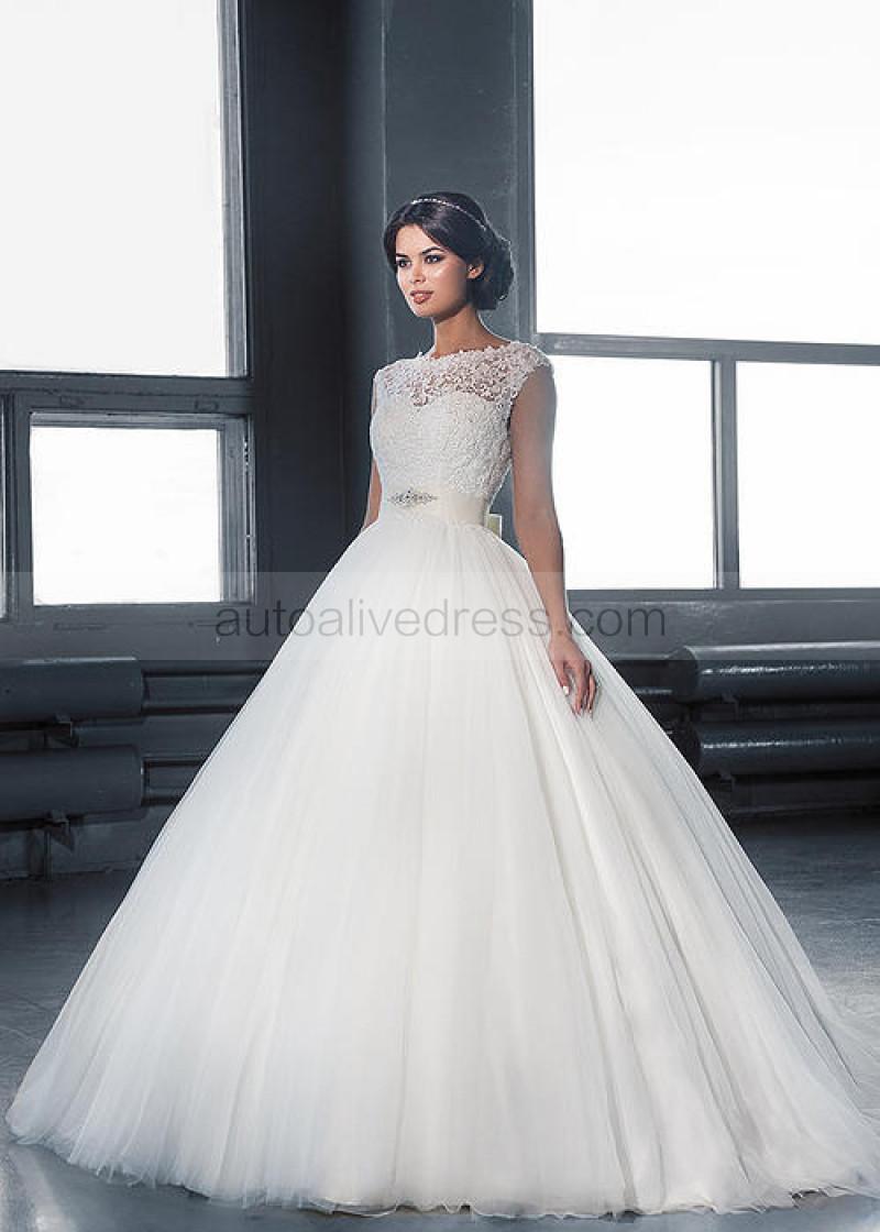 Boat Neck Ivory Lace Tulle V Back Wedding Dress