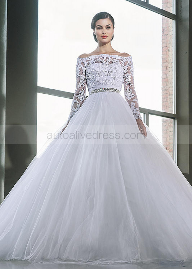 Sweetheart Neck Strapless White Tulle Corset Back Wedding Dress With Lace Jacket