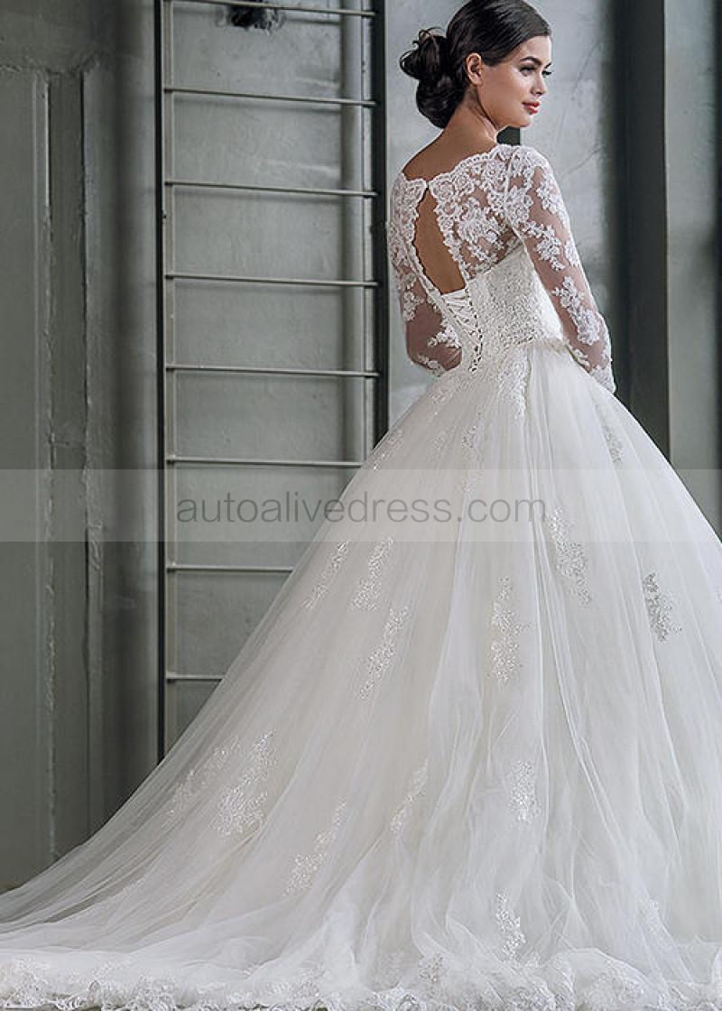 Illusion Neck Ivory Beaded Lace Tulle Corset Back Wedding Dress