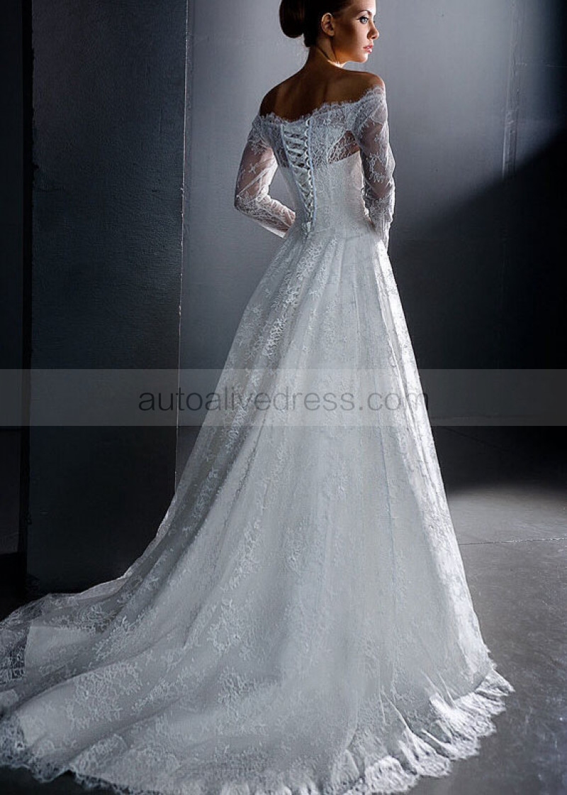 A Line Ivory Lace Off Shoulder Long Sleeves Corset Back Beaded Sash Sweep Train Wedding