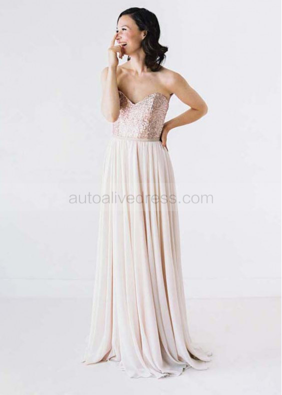 Sweetheart Neckline Champagne Sequin Ivory Chiffon Bridesmaid Dress