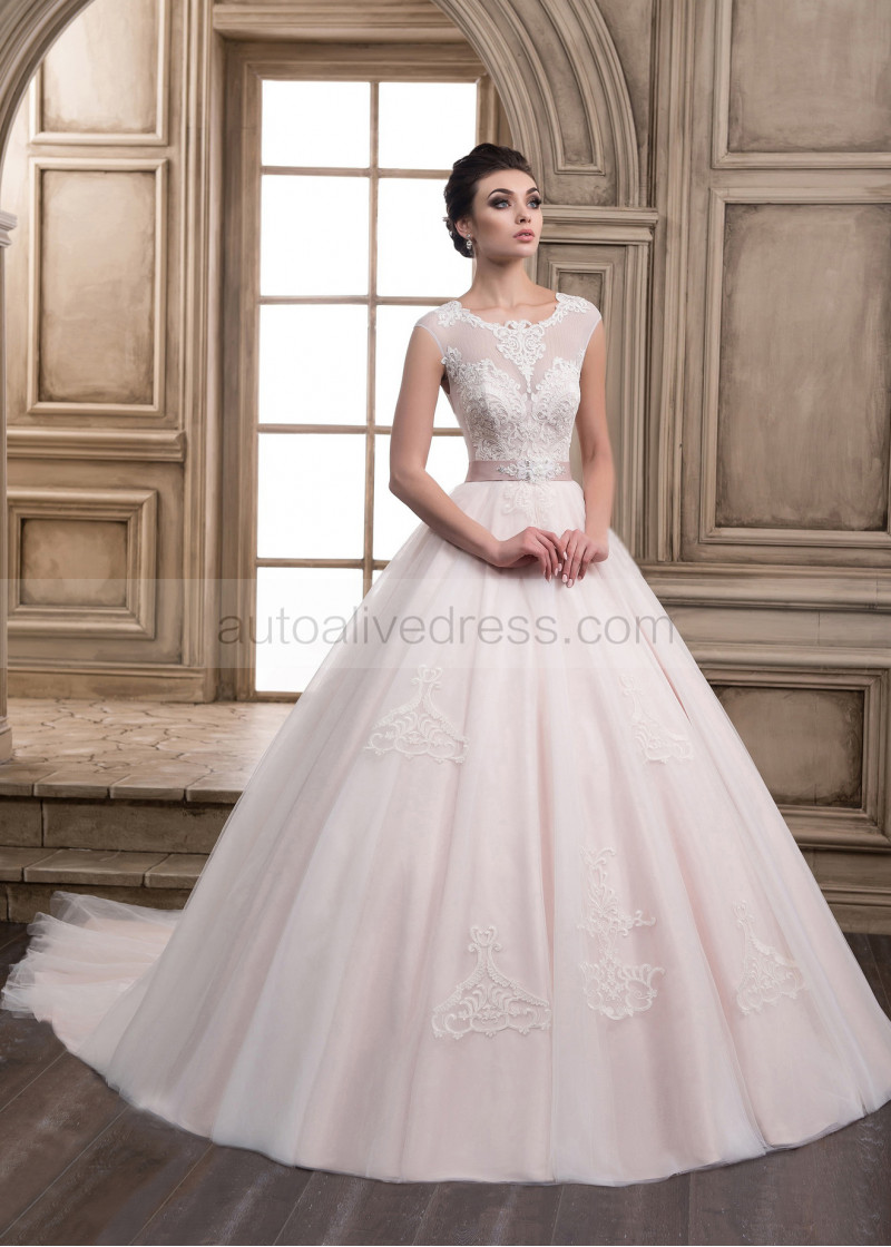 Illusion Neck Ivory Beaded Lace Tulle Wedding Dress With Dusty Pink Lining