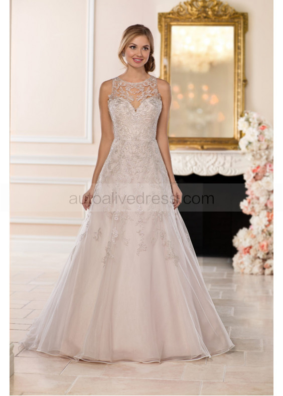 Beaded Ivory Lace Tulle Illusion Buttons Back Wedding Dress With Champagne Lining