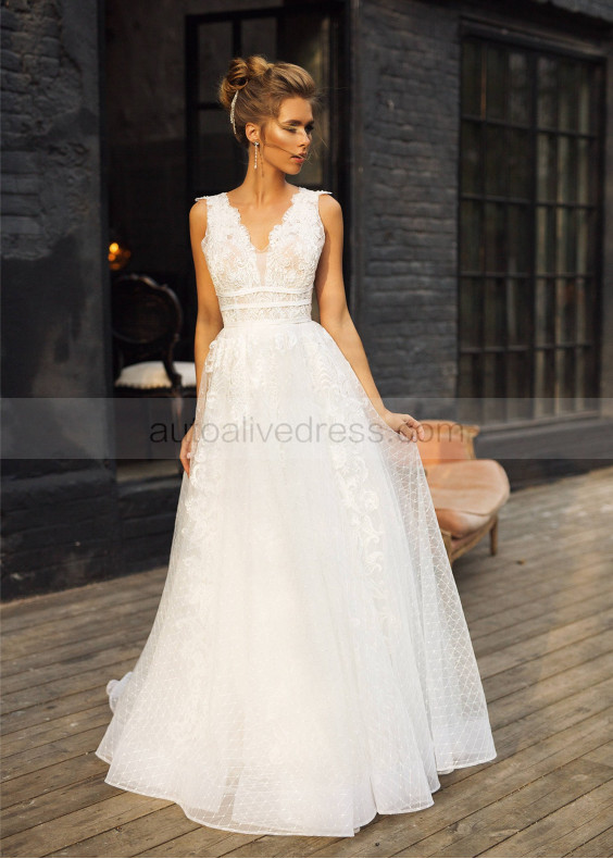 Beaded Ivory Lace Tulle V Back Wedding Dress