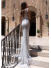 Beaded Ivory Lace Wedding Dress With Detachable Cape