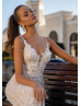 Beaded Ivory Lace Tulle Wedding Dress With Cape