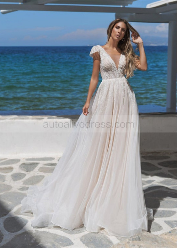 Beaded Ivory Lace Tulle Flowy Beach Wedding Dress