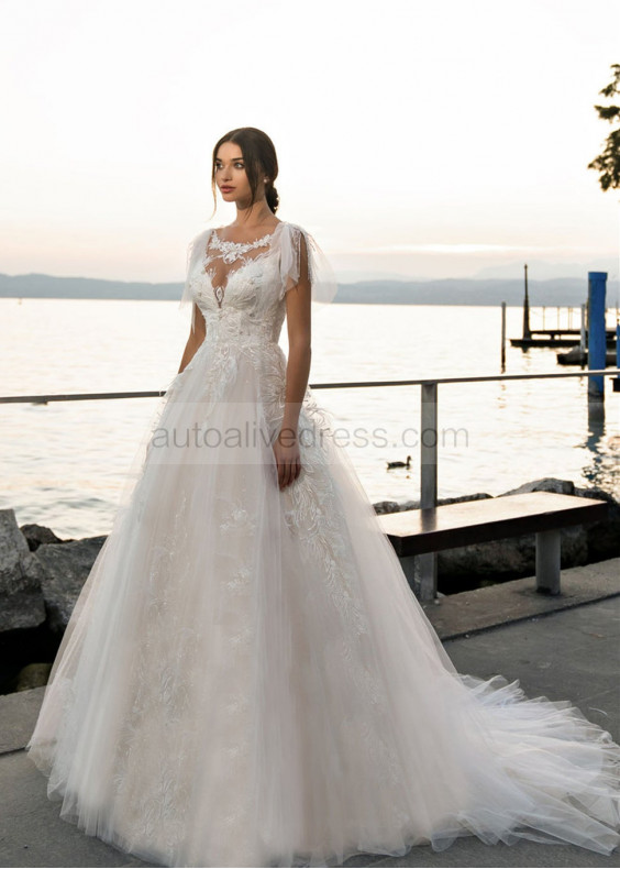 Beaded Ivory Lace Tulle Tassel Wedding Dress