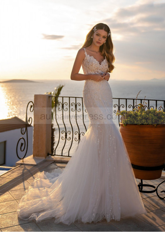 Beaded Ivory Lace Tulle Mermaid Wedding Dress