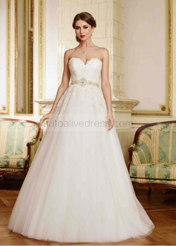 A Line Strapless Sweetheart Neckline Ivory Lace Tulle Wedding Dress With Beads