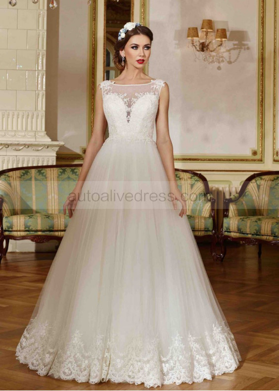 A Line Boat Neckline Ivory Lace Tulle Wedding Dress