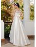 Hi Low Boat Neckline Champagne Lace Satin Wedding Dress